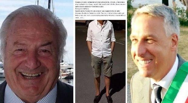 Da sinistra: Brunetti, i bermuda incriminati e il sindaco di Viareggio